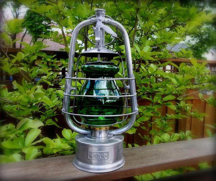 EGLOFF & CIE 'HELVETIA' BUNKER LAMP WITH RARE DOCTORS GREEN GLOBE