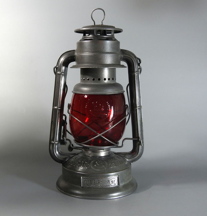 Feuerhand Kerosene Lantern Nr. 260 with red Embossed globe and German Badge