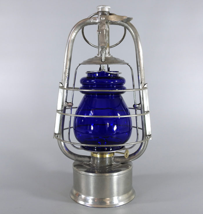 HELVETIA SWISS KEROSENE LANTERN WITH BLUE GLOBE -MADE FOR THE SWISS ARMY