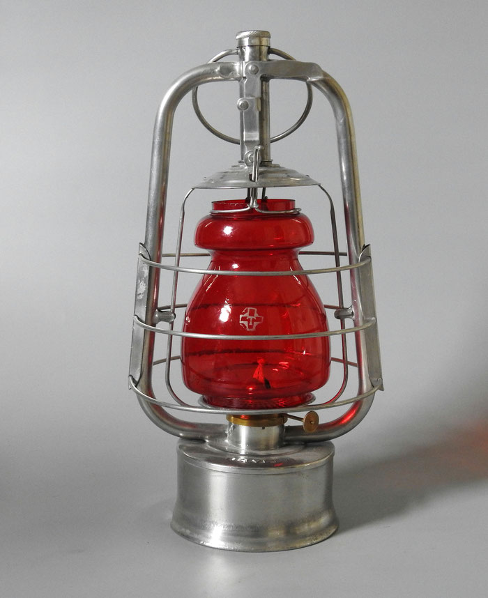 EGLOFF & CIE HELVETIA SWISS MILITARY LANTERN WITH RARE ETCHED RED GLOBE