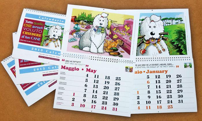 alt-img-disegno-drawing-calendar-adventures-bobtail-cartoon-vignette-comics-old-english-sheepdog-2-lingue-printed-italiano-inglese