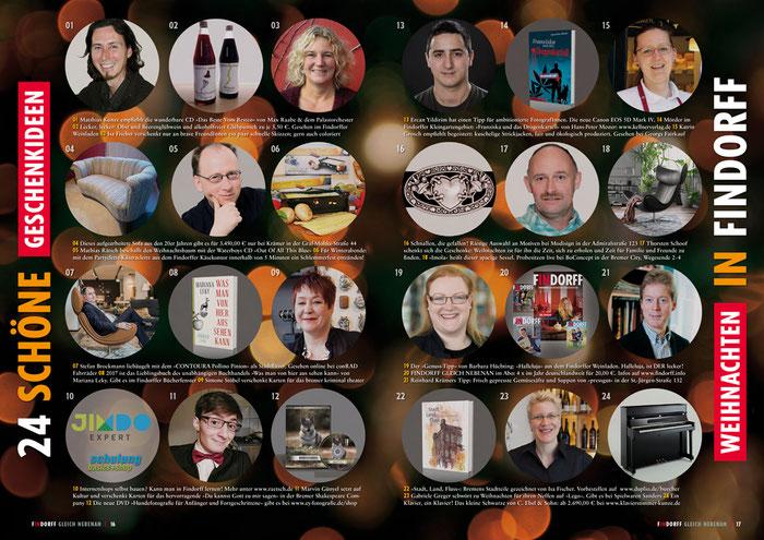 Anzeige im Schaufenster: Beispiel »24 schöne Geschenkideen. Weihnachten zu Findorff«