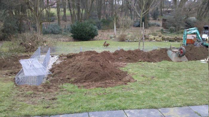 Garten / Rasenfläche um 0,5 m angehoben mit Schwerlast Gabionen