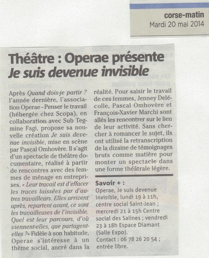 Corse-Matin - 20 mai 2014