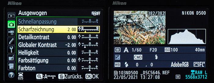 Dias digitaliseren mit dem Nikon ES-1: Einstellungen im Kameramenü beim Duplizieren kontrastreicher Diapositive. Foto: bonnescape.de