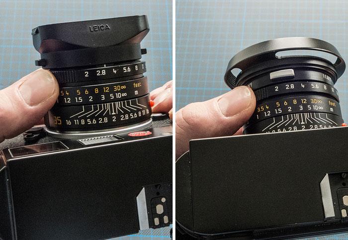 Praxistest: Das Leica Summicron-M 2,0/35 mm Aspherical beim Handling mit verschiedenen Gegenlichtblenden, Foto: Klaus Schörner