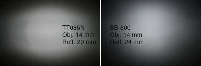 GODOX TT685N und NIKON SB-800 im Vergleich, hier: Lichtverteilung bei 20 und 24 mm. Foto: bonnescape.de