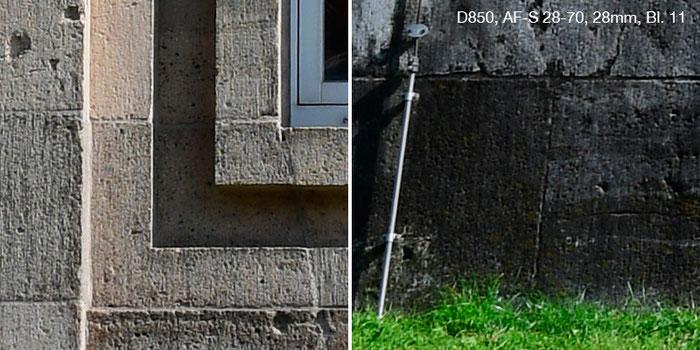 Praxistest Nikon D850 mit Nikkor AF-S 2,8/28-70mm IF-ED bei 28 mm und Blende 11. Links Bildmitte, rechts Rand. Foto: Klaus Schoerner