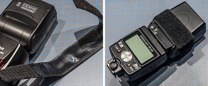 Praxistest Aurora Litebank Speedbounce 40, selbsthaftendes Klettband zur Montage am Blitz, hier ein Nikon Speedlight SB-800, Foto: bonnescape