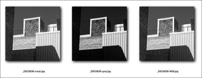 Voransicht Schwarzweissfoto mit unterschiedlichen Profilen: Graustufenprofil, RGB, CMYK. Foto: bonnescape.de