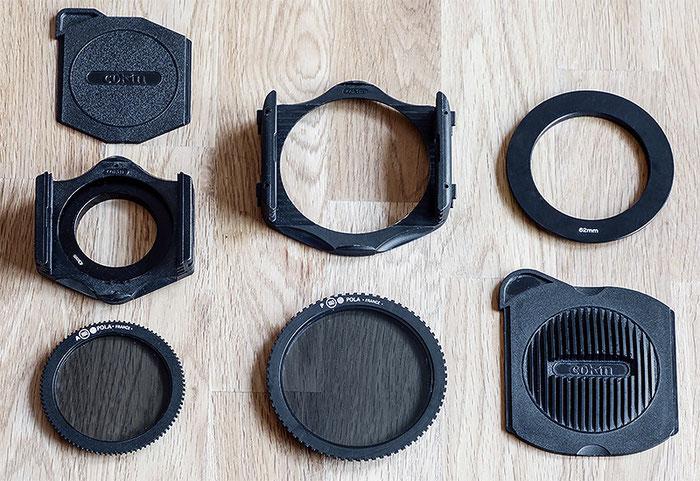 Diverse Filterhalter und Polfilter von Cokin im Vergleich