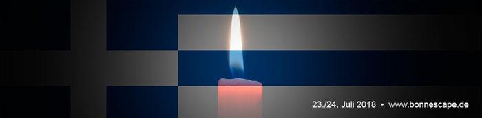 In tiefer Anteilnahme für die Opfer in Griechenland, 23./24.7.2018, www.bonnescape.de