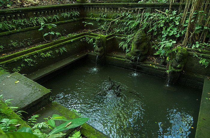 Wassertempel im Affenwald bei Ubud, Bali. Nikon F4. Foto: bonnescape 1993