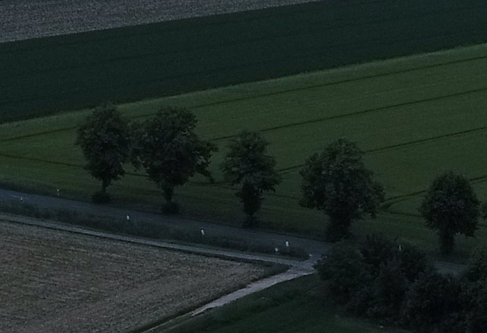Felder in der Abenddämmerung, 100% Crop, DJI Phantom 4 Pro Plus, Foto: bonnescape