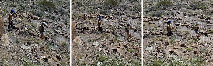 Las Canadas del Teide, Teneriffa. Ausschnitt. 3 Einzelfotos, die zur Verdopplung von beweglichen Elementen im Panorama-Foto führen. Leica M9 mit 2,8/21 mm ZEISS Biogon. Foto: Klaus Schoerner