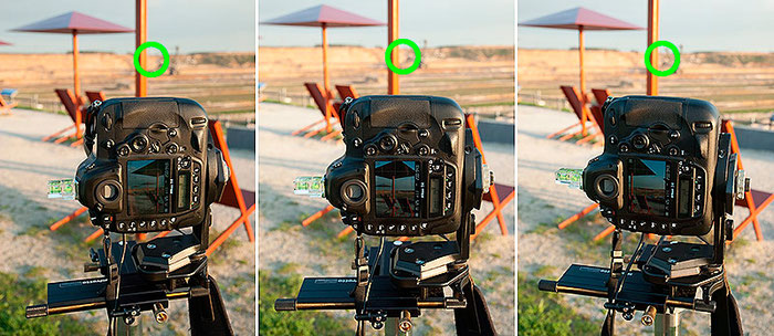 Bestimmung des Nodalpunktes, Schritt 2, Einstellkontrolle durch Kameraschwenk, Foto: bonnescape