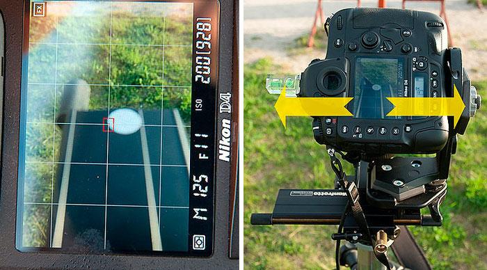 Bestimmung des Nodalpunktes Schritt 1, Rechts-Links-Verstellung, Foto: bonnescape