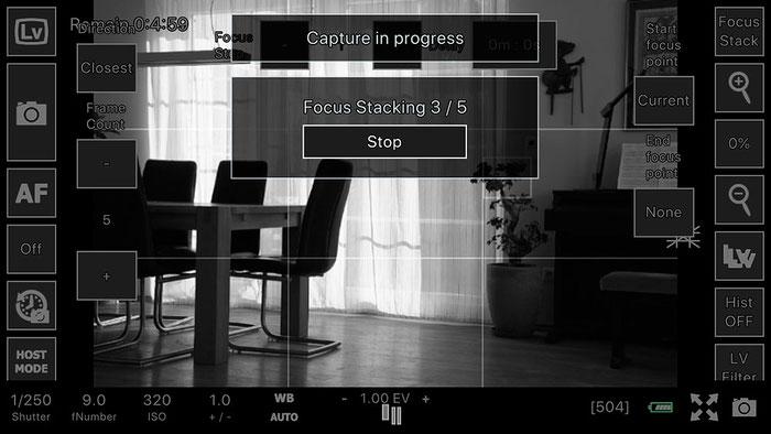 Test: WLAN Tethered Shooting und Focus Stacking mit der App ControlMyCamera V1.0.1. Screenshot und Foto: Bonnescape