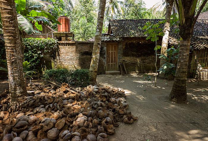 Reisefotografie: Hinter dem Haus werden Kokosnussschalen getrocknet, um als Brennstoff verwendet zu werden. LEICA M9, mit ZEISS Biogon 2,8/21 mm, Foto: Klaus Schoerner