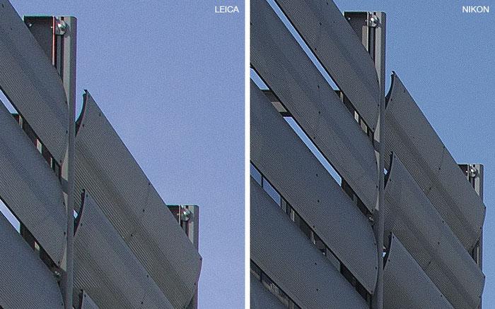 Bildausschnitt Mitte in 100% Ansicht, geschärft: links Leica M9 mit PC-Super-Angulon-R 2,8/28 mm, rechts NIKON D4 mit dem PC-E Nikkor 24 mm 1:3,5D ED. Foto: Klaus Schoerner