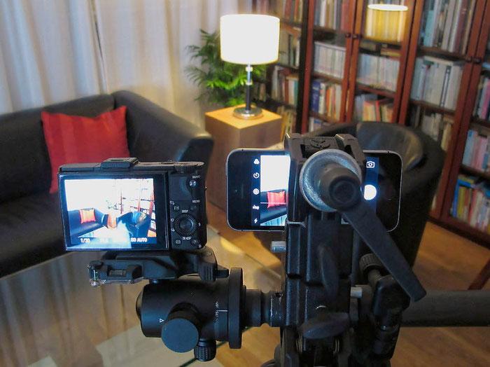 Praxistest Bildqualität IPHONE SE versus SONY RX100 II: Testaufbau bei Kunstlicht, Foto: Klaus Schoerner