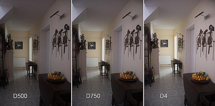 Praxistest NIKON D500: Bildvergleich Kellerflur D500, D750, D4, Foto: bonnescape
