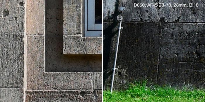 Praxistest Nikon D850 mit Nikkor AF-S 2,8/28-70mm IF-ED bei 28 mm und Blende 8. Links Bildmitte, rechts Rand. Foto: Klaus Schoerner