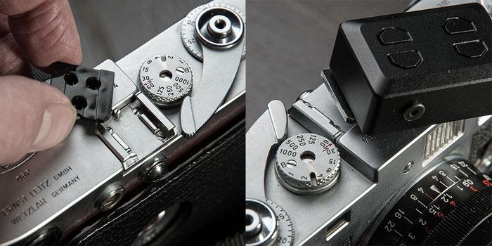 Aufsteck-Belichtungsmesser im Test: Montage und Befestigung des KEKS EM01 bei der Leica M2. Foto: bonnescape