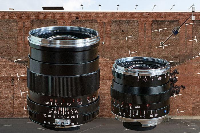 Objektivansicht Distagon T* 2,0/35 mm ZF (links) versus Biogon T* 2/35 ZM