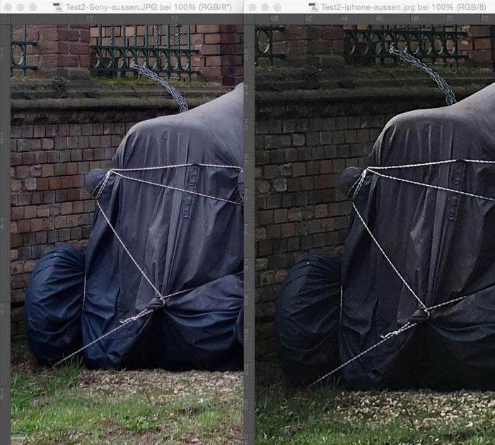 Vergleichsbild aus dem Test-Set2, Bereich Bildmitte. SONY links, IPHONE rechts. Foto: Klaus Schoerner