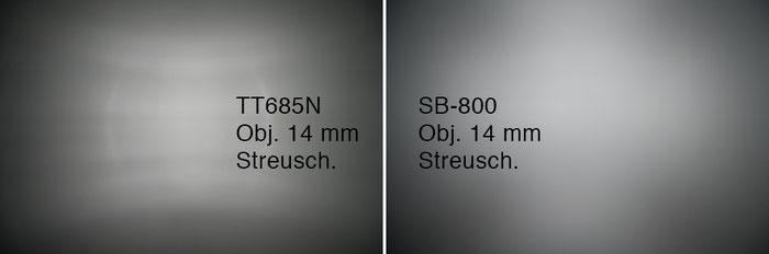 GODOX TT685N und NIKON SB-800 im Vergleich, hier: Lichtverteilung bei 14 mm. Foto: bonnescape.de