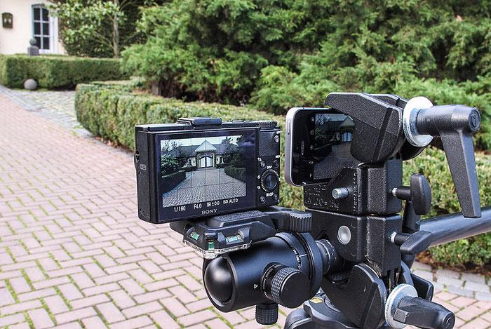 Testaufbau Set 1 mit IPHONE SE versus SONY RX100 M2, Ansicht von hinten, Foto Klaus Schoerner