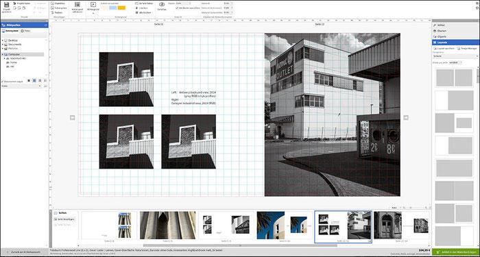 Praxistest SAAL Digital Professional Line Fotobuch. Die Arbeitsoberfläche der Design Software. Foto: bonnescape.de