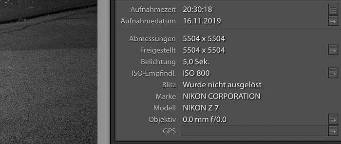 Unvollständige Anzeige EXIF-Daten wegen fehlender CPU des Objektivs. Screenshot: bonnescape