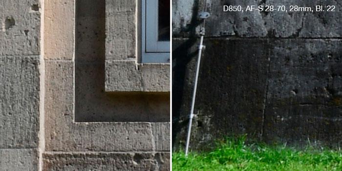 Praxistest Nikon D850 mit Nikkor AF-S 2,8/28-70mm IF-ED bei 28 mm und Blende 22. Links Bildmitte, rechts Rand. Foto: Klaus Schoerner
