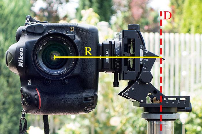Klassische Hochformatbefestigung der Kamera. Der Nodalpunkt befindet sich in einem großen Abstand zur Stativachse, Foto: bonnescape