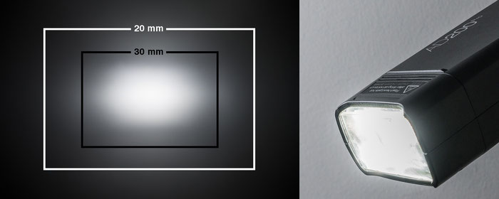 Test Godox AD200Pro, LED-Einstelllicht beim Standard-Blitzkopf, Foto: bonnescape.de