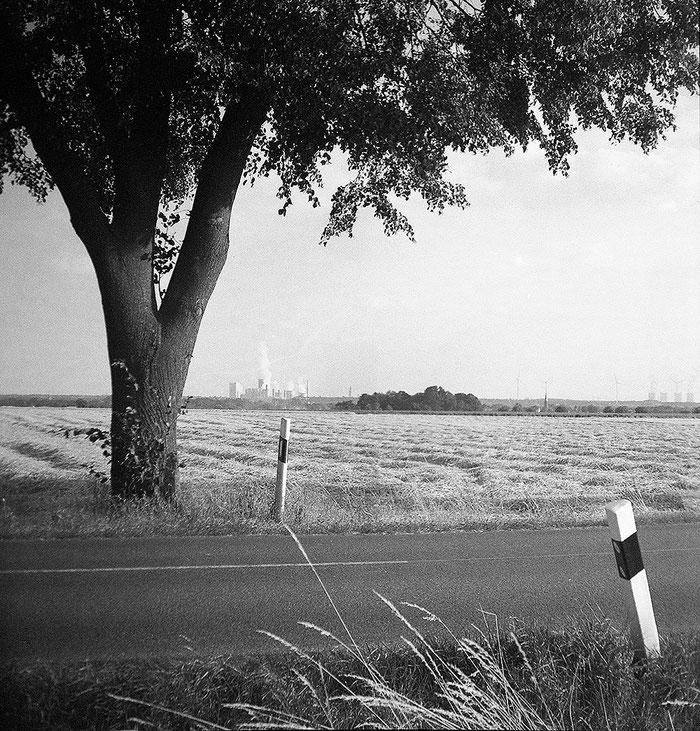 PURMA SPECIAL im Praxistest: Foto einer Landstrasse im Fabrik im Hintergrund. Foto: Dr. Klaus Schörner