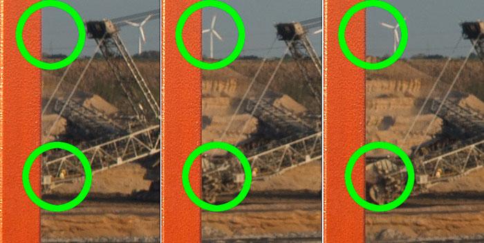 Bestimmung des Nodalpunktes, Detailansichten bei Drehung mit fehlplatzierten Nodalpunkt, Foto: bonnescape