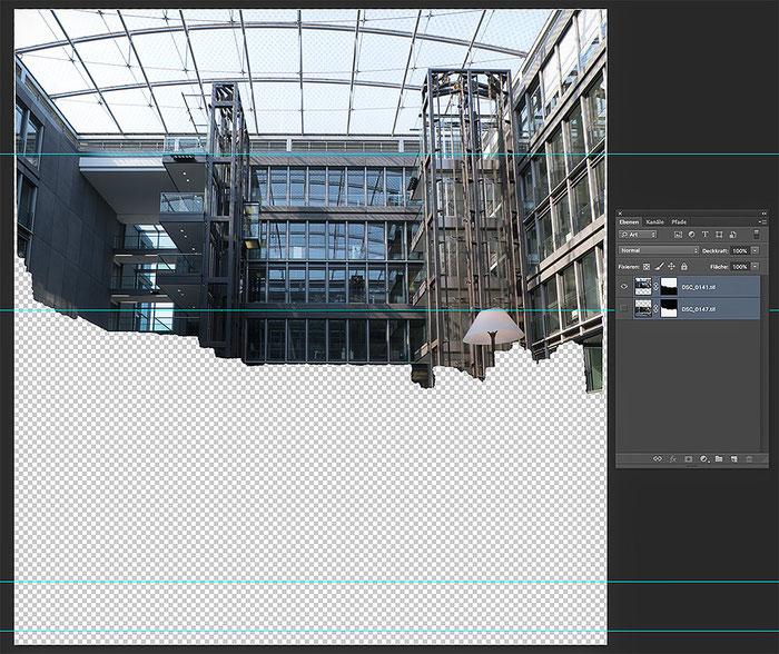 Praxistest NIKON D850 mit PC-E 24 mm 1: 3,5. Westgate Köln. Screenshot Stitching Zwischenschritt. Foto: bonnescape
