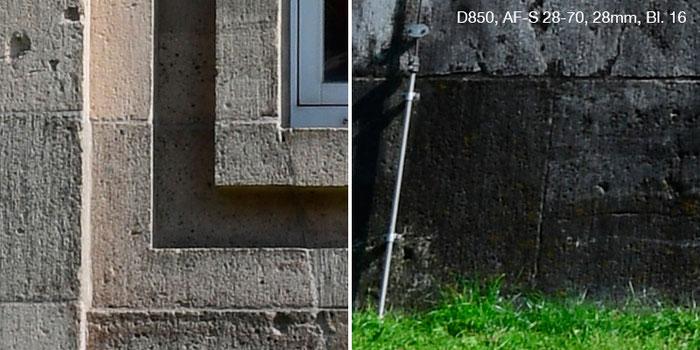 Praxistest Nikon D850 mit Nikkor AF-S 2,8/28-70mm IF-ED bei 28 mm und Blende 16. Links Bildmitte, rechts Rand. Foto: Klaus Schoerner
