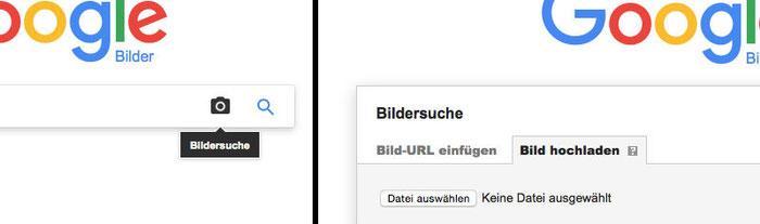 Zwei Eingabeschritte beim Starten der Google-Bildersuche