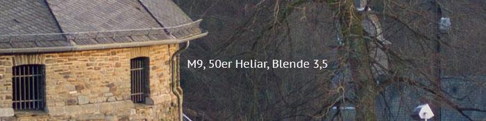 Praxistest Voigtländer Heliar 3,5/50 mm VM, Testmotiv Burg, 100%-Crop bei Blende 3,5, Foto: Klaus Schörner