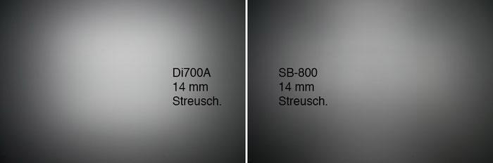 NISSIN Di700A im Test, hier: Lichtverteilung mit Weitwinkelstreuscheibe. Foto: bonnescape.de