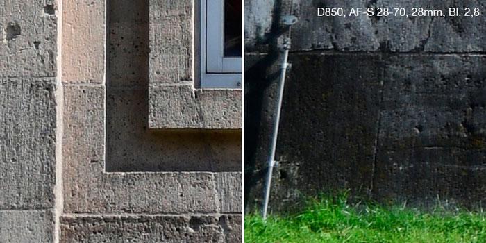Praxistest Nikon D850 mit Nikkor AF-S 2,8/28-70mm IF-ED bei 28 mm und Blende 2,8. Links Bildmitte, rechts Rand. Foto: Klaus Schoerner