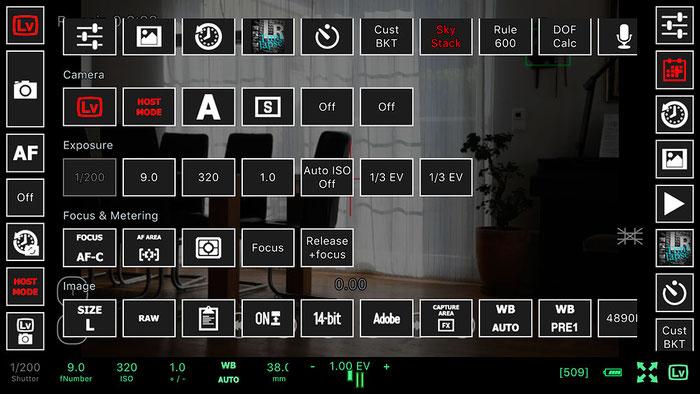 Test: WLAN Kamerasteuerung mit NIKON D500 und ControlMyCamera V1.0.1. Befehlsübersicht. Screenshot und Foto: Bonnescape