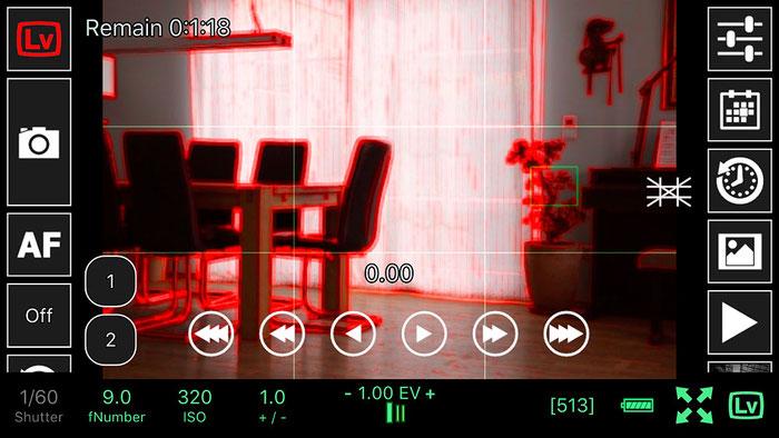 Test: Focus Peaking beim Live View, kabellose Steuerung der NIKON mit ControlMyCamera V1.0.1. Screenshot und Foto: Bonnescape
