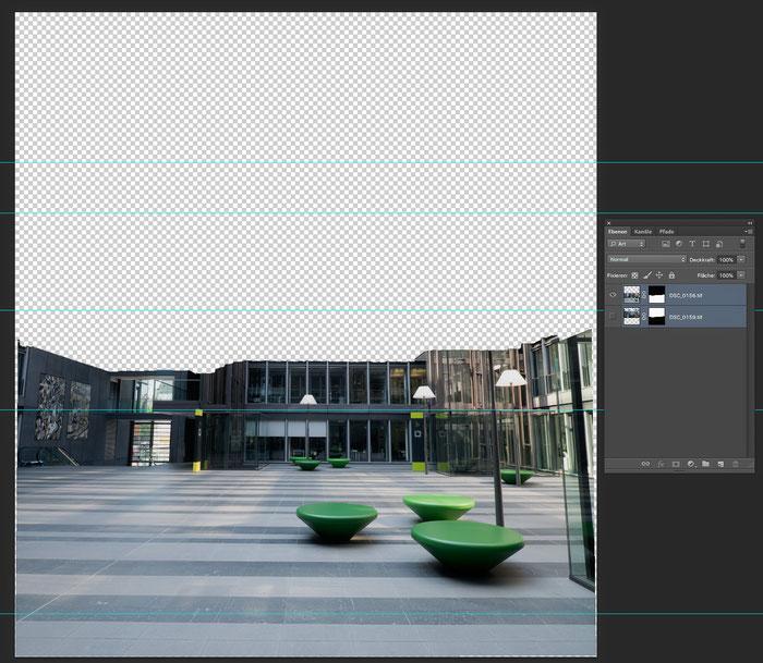 Praxistest NIKON D850 mit PC-E 24 mm 1: 3,5 mit JUMBO MBS Plus. Screenshot Stitching Zwischenschritt. Foto: bonnescape