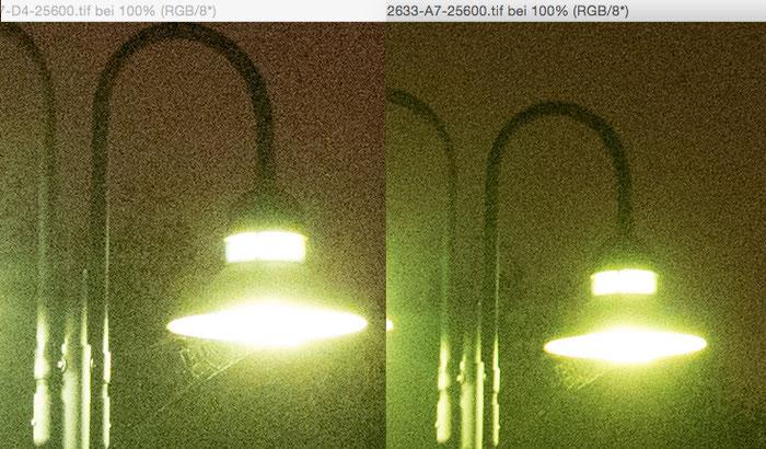 Testergebnis Nachtaufnahme extrem, Nikon D4 versus Sony Alpha 7s bei 25600 Iso.