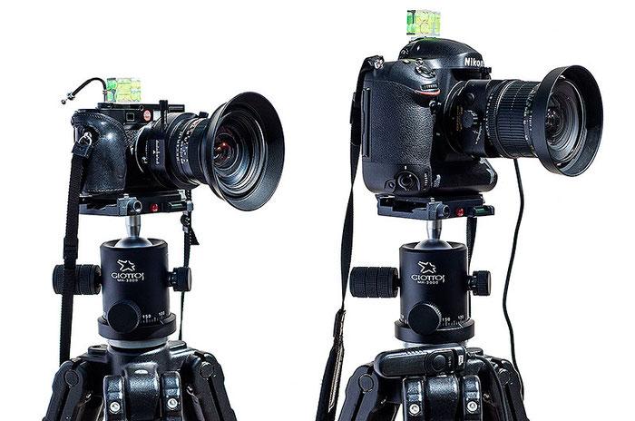 Aufnahmekonfiguration für den Vergleichs-Test: links Leica M9 mit PC-Super-Angulon-R 2,8/28 mm, rechts NIKON D4 mit dem PC-E Nikkor 24 mm 1:3,5D ED. Beide sind montiert auf einem MANFROTTO 161B mit GIOTTOS MH-3000 Kugelkopf. Foto: Klaus Schoerner